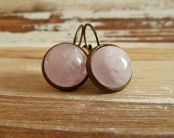 Rosequartz Earrings Bronze