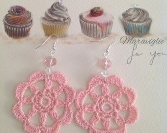 Crochet Earrings, crocheted Earrings, Pink Earrings, 100%Cotton Thread Earrings, Handmade Jewelry