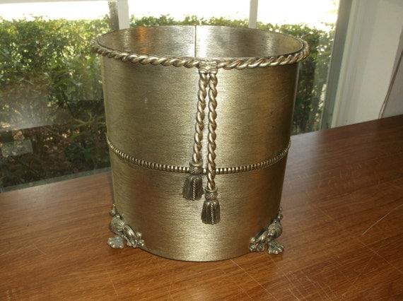Vintage Hollywood Regency Brushed Gold Metal Waste Basket With