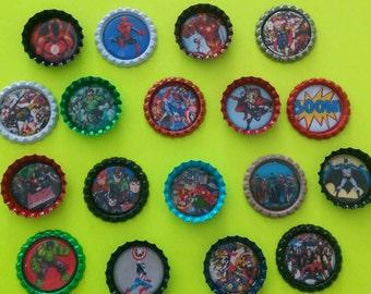 Set of 18 Marvel Superhero advengers multi-color bottle cap magnets refrigerator locker