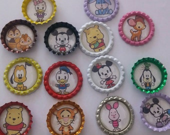 14 VIntage baby Disney characters bottlecap magnets Mickey Minnie Pluto Pooh and More Refrigferator