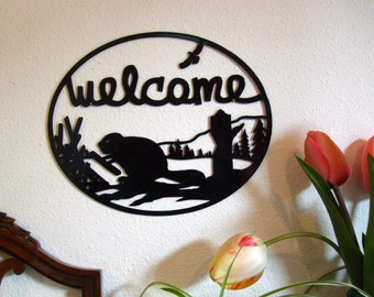 Metal wall art Beaver Welcome Sign