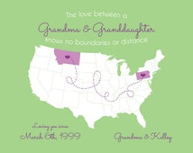 Grandma Granddaughter Map, Grandmother Gift, Long Distance Relationship Love Art Print Missing You Present Mother's Day Custom Digital Print
