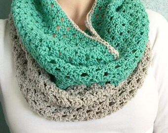 Spring Infinity Scarf // Mint and Gray Spring Infinity Scarf Cowl // Crochet Cowl
