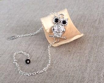 Owl Bracelet, Sterling Owl Bracelet, Owl Jewelry, Silver Owl Bracelet, Owl Charm Bracelet, Silver, Owl Jewellery, Swarovski Crystal Bracelet