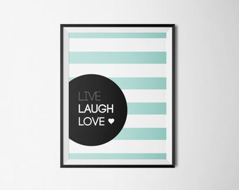 """Typography poster, """"Live Laugh Love"""", Inspirational Poster, Motivational poster, motivational quote, inspirational quote, wall print"""