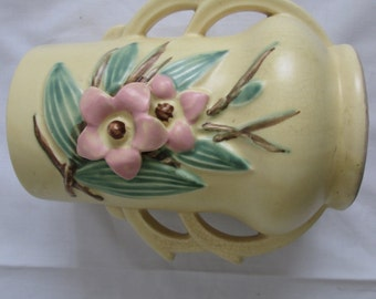 1940s McCoy Blossom Time Pottery Vase 6-3/4 Inches
