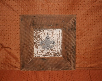 antique ceiling tin framed by heart pine
