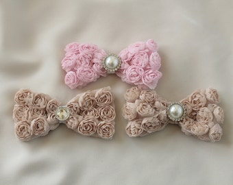 Pink & Brown Rosette Hair Clip Bow