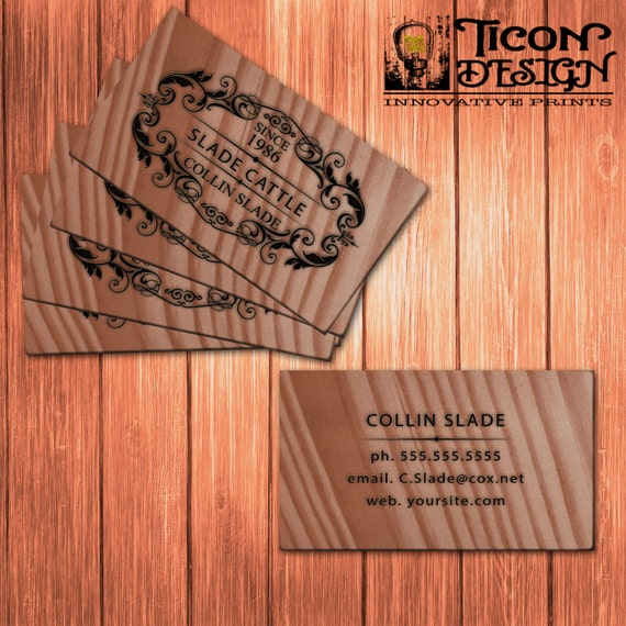 Business cards / Custom Wood / Thick paper / Standard