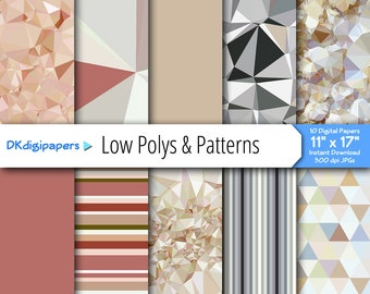 "BIG Digital Papers -- Low Polys with Coordinating Patterns -- Original Designs -- 300 dpi JPGs -- 11"" x 17"""