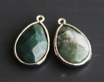 A2-500-R-MS] Moss Green / 14 x 20mm / Rhodium plated / Teardrop Pendant /  2 pieces
