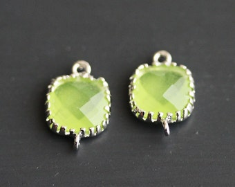 A2-110-R-AP] Apple Green / 8mm / Rhodium plated / Square Pendant Connector /  2 pieces