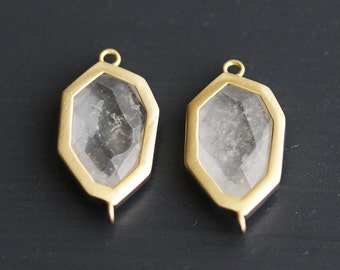 A2-108-MG-WA] White Amethyst / 11 x 22mm / Matt Gold plated / Octagon Glass Pendant Connector /  2 pieces