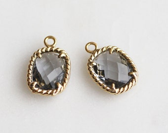 A2-078-G-CC] Charcoal Gray / 9 x 13mm / Cushion / Gold plated / Glass Pendant / 2 piece(s)