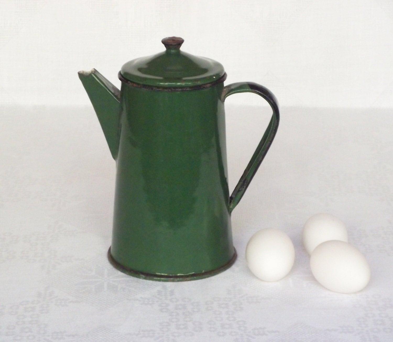 Soviet Vintage Tea Coffee Pot Green Enamel Pot Rustic Home