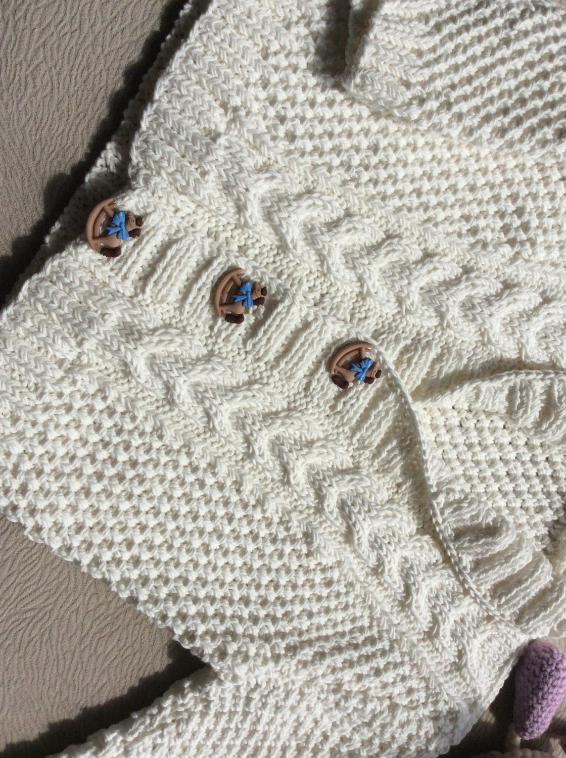 Knit Baby Organic Cotton Sweater Hand Knitted White Baby