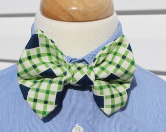 Little Boy Bow Tie, Navy and Green Plaid with Adjustable Neck Band, Easter Tie, St. Patrick's Day Tie, First Communion Tie, Ready to Ship