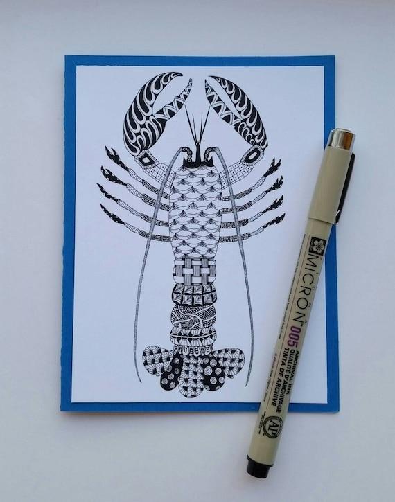 Lobster Zentangle Card Blank