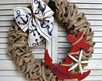 Nautical Burlap Wreath | Nautical Wreath | Anchor Wreath | Starfish Wreath | Ahoy | Nautical Welcome Wreath
