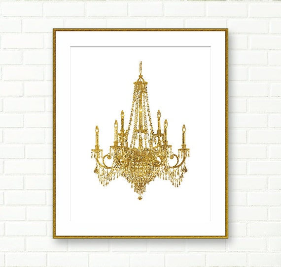 Chandelier art print gold wall art dining room by peachandgold for Dining room artwork prints