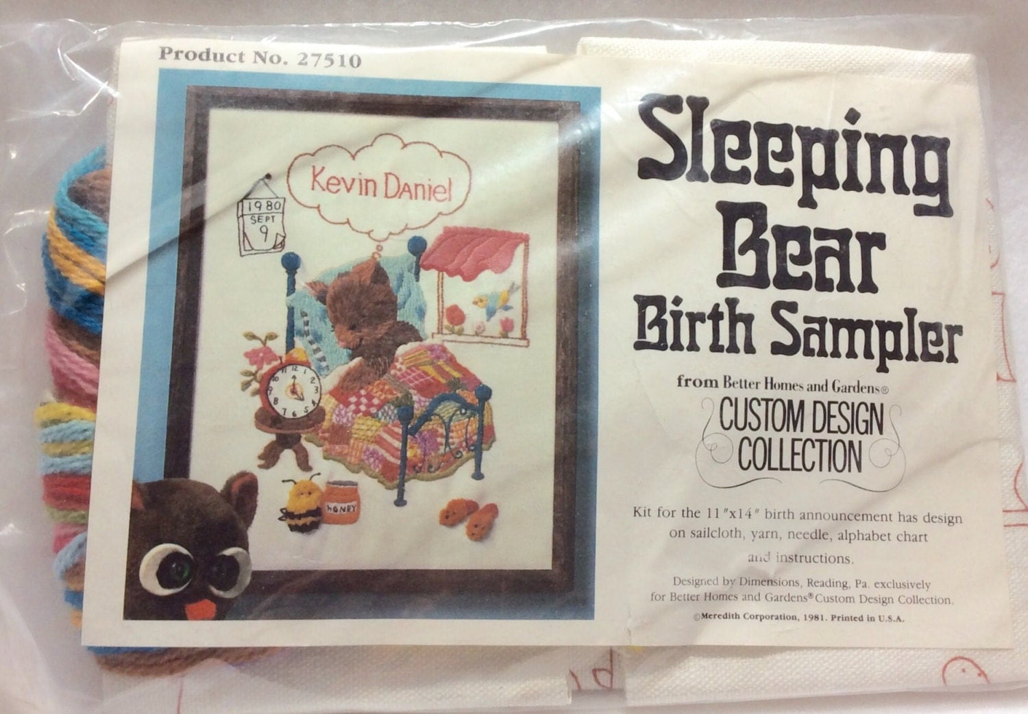 Vintage sleeping bear crewel embroidery birth by