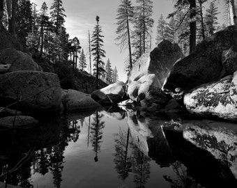 Black and white Lndscape photography, mountain creek with trees and boulders.