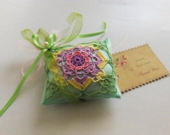 Authentic crochet applique on organza, multicolor, drawer lavender sachet, pouch, handmade, gift
