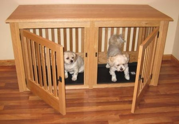 Items Similar To Double Small Wood Dog Crate Furniture Custom Made To Order On Etsy