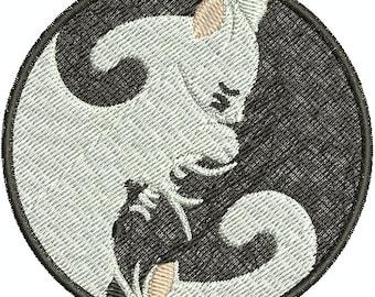 Digital Embroidery Design -Yin Yang Cats