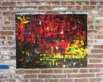 MEDArts Original Palette knife painting Impasto Abstract and modern Red Yellow Black Very colorful with a lot of texture Ready to hang