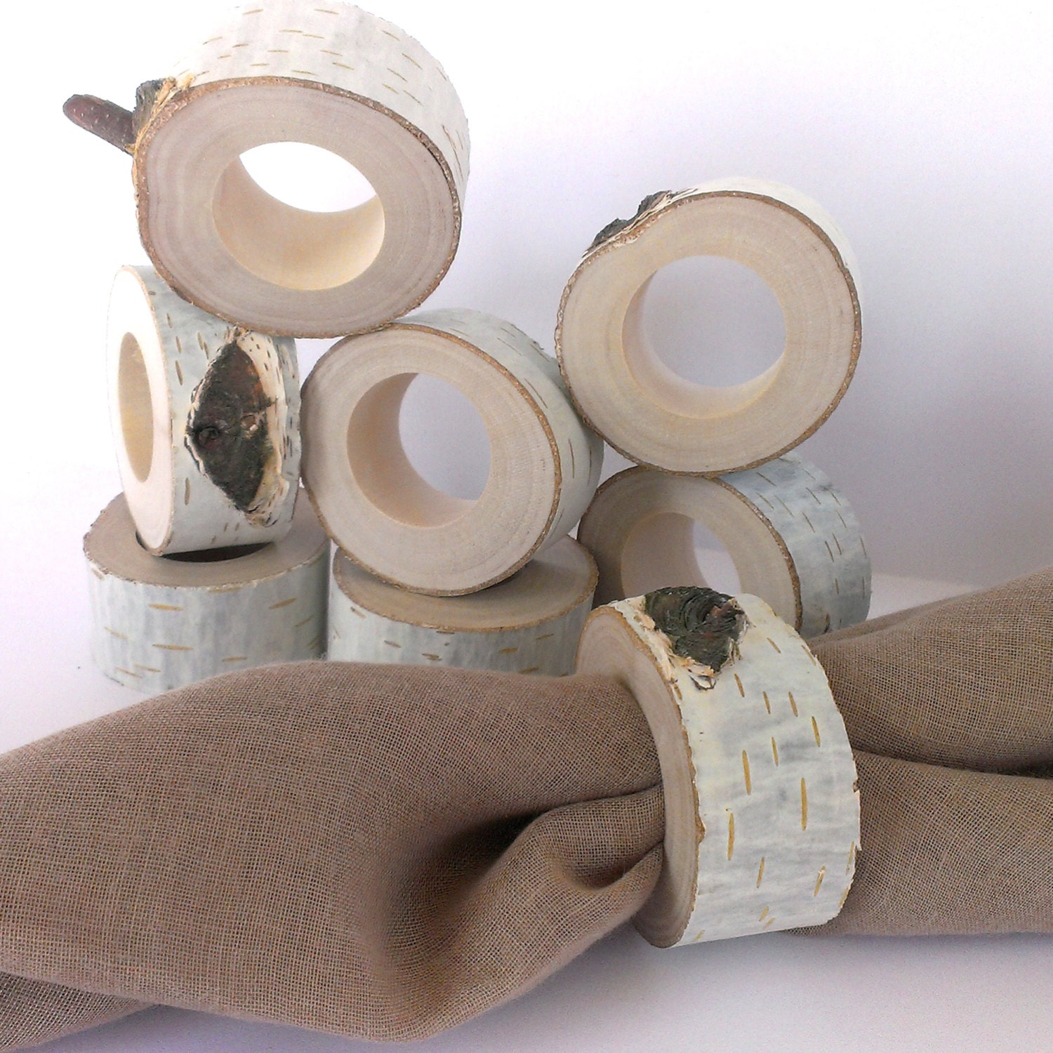 rustic napkin rings 8 pcs holders wedding napkin holder. Black Bedroom Furniture Sets. Home Design Ideas