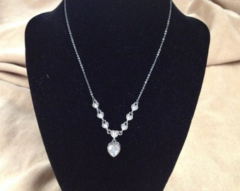 Vintage Silvertone Heart Design Gemstone Necklace, Length 15''