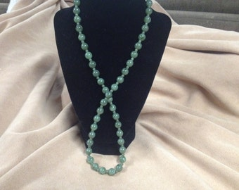 Vintage Green Marbled Acrylic Beaded Necklace, Length 26''