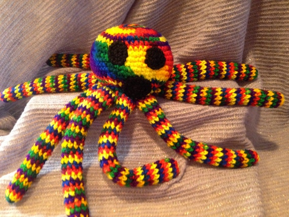 Rainbow Octopus Bean Bag Crochet Doll by PurpleIslandCreation
