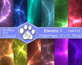 Electric 1 - Digital Scrapbook Paper Pack with Instant Download