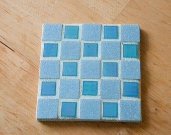 Handmade checked mosaic coaster country style blue