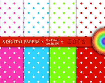 "8 Digital papers in set ""DOTS"", scrapbook paper pack, background, instant download"