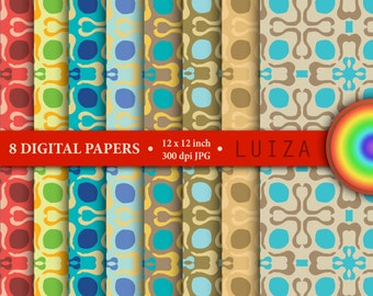 "8 Digital papers set ""LUIZA"", scrapbook paper pack, background, ornament, colors,"