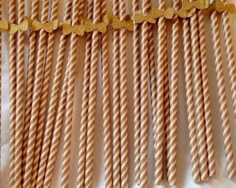 Retro Paper Straws/ Gold + Baby Pink / Glitter Bow (Pack of 25)