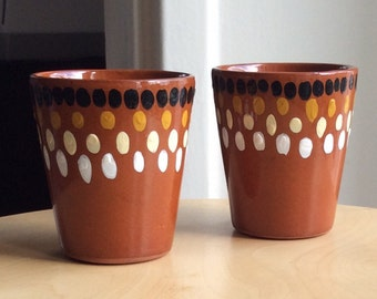 Tribal hand painted ceramic planter