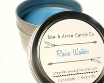 4 oz Natural Soy Candle Rain Water Scented   4 oz Tin Candle   Rain Water Candle   Floral Soy Candle   Scented Soy Candle