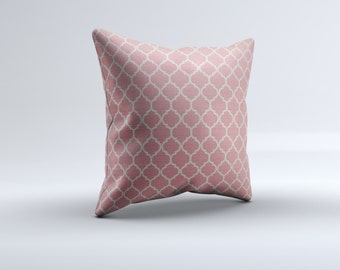 pink quatrefoil throw pillow, modern throw pillow, pink white pillow, decorative pillow, 16x16, 18x18, 20x20,14x14 modern throw pillow
