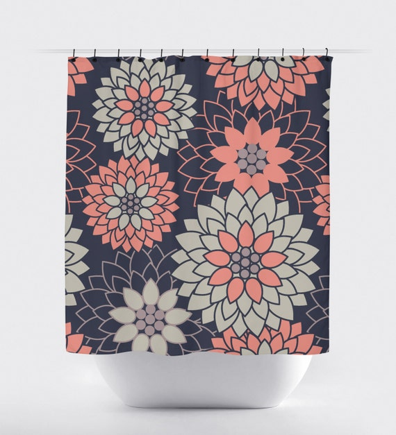 Coral And Navy Blue Flower Shower Curtain Geometric Shower