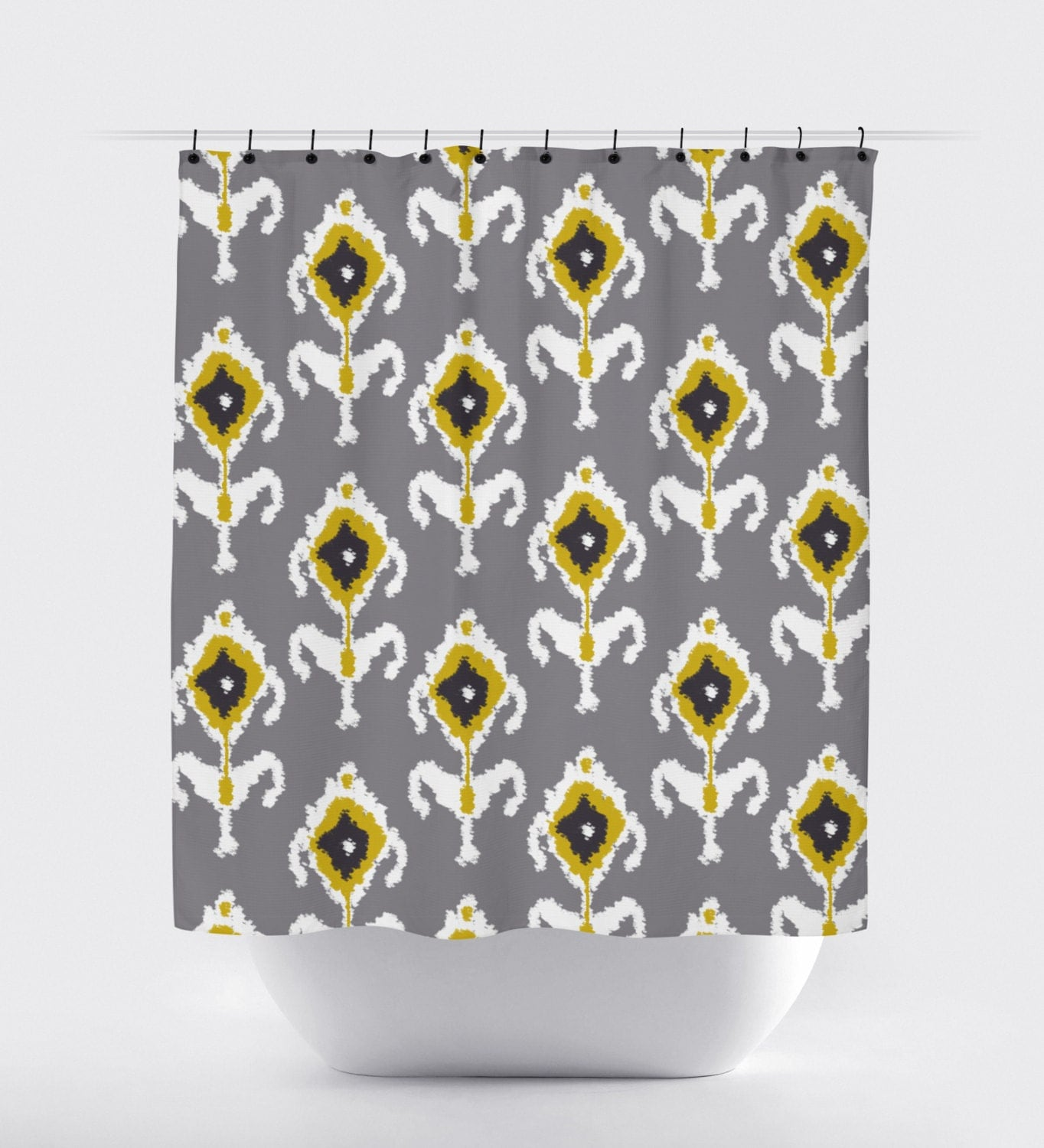 light gray and mustard yellow fabric shower curtain aztec