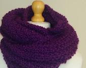 Infinity scarf Scarf Chunky purple scarf Hand knit scarf Soft and cozy scarf Purple snood Snood Knit snood Knit scarf ready to ship