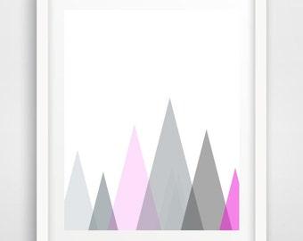Triangle Print, Grey and Pink Mountains, Printable Art, Scandinavian Print, Geometric Art,  Triangle Art,  Digital download