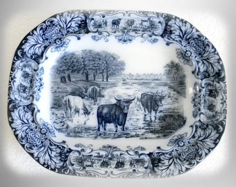 Wedgwood antique flow blue COW platter - circa 1890s
