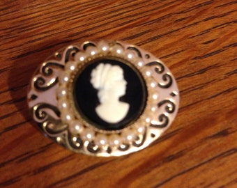 Cameo and Pearl Pin