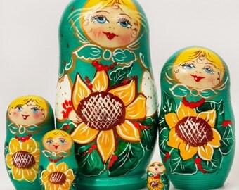 Nesting Doll Russian Matryoshka (5 pc) 4'' Sunflower